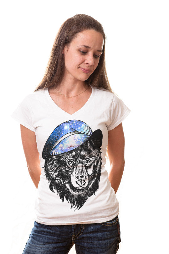 cosmic-hat bear graphic tee women