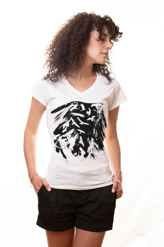 cut-out-birds graphic t shirt women