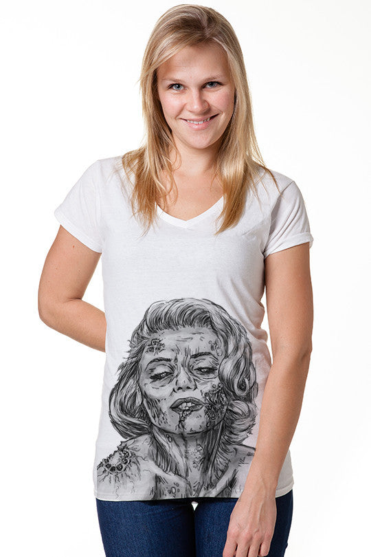 dead-marilyn-zombie graphic t shirt women