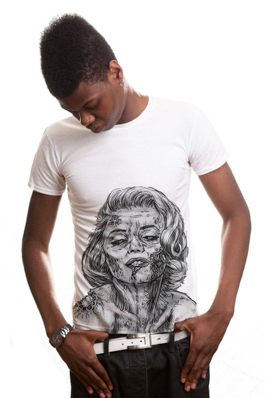 dead-marilyn-zombie graphic t shirt men