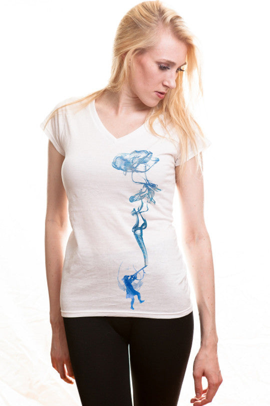 smoking-water abstract graphic tee women