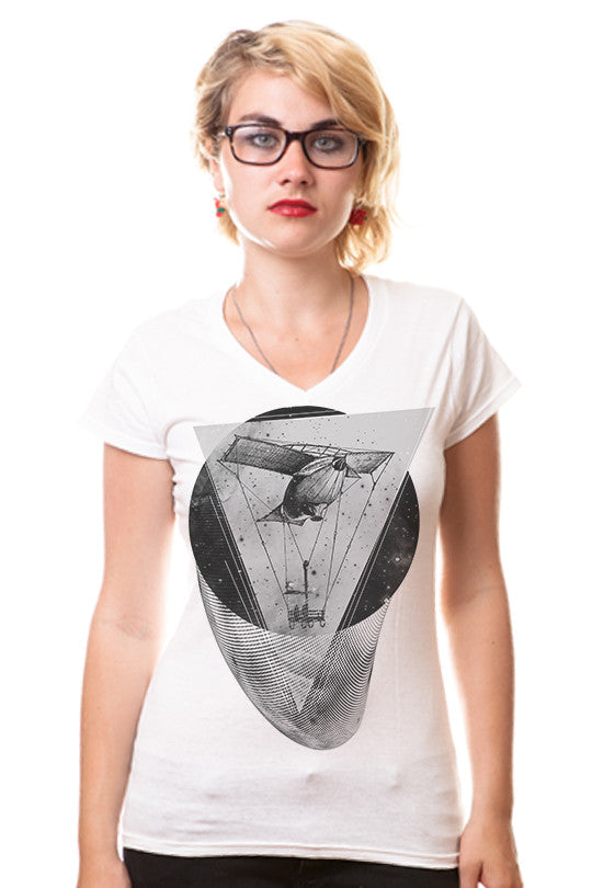 space-time-aviation space graphic tee women