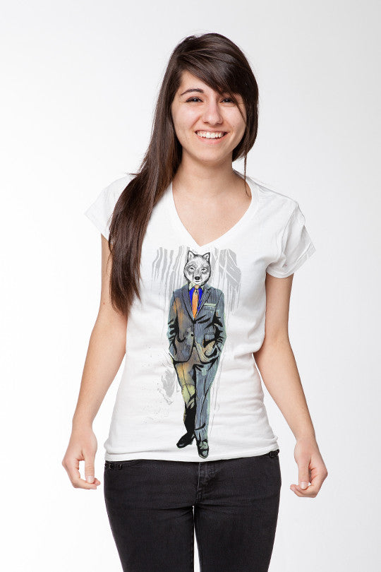 Business Wolf graphic tee women