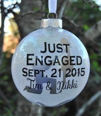 Just Engaged Glitter Christmas Ornament