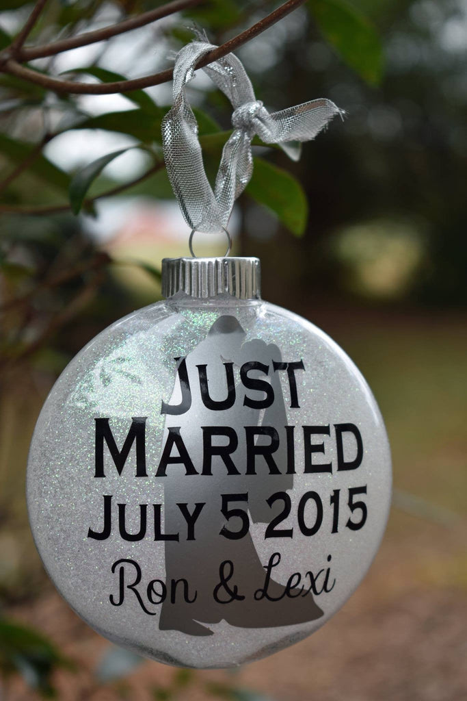 Just Married Glitter Christmas Ornament