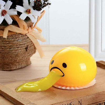 SQUISHY PUKING EGG YOLK STRESS BALL WITH YELLOW GOOP - worthbuyonline