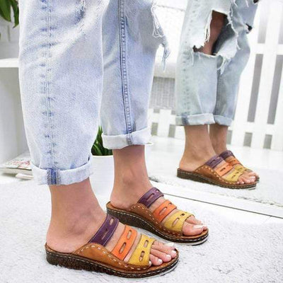 Women Chic Three-color stitching Sandals - worthbuyonline