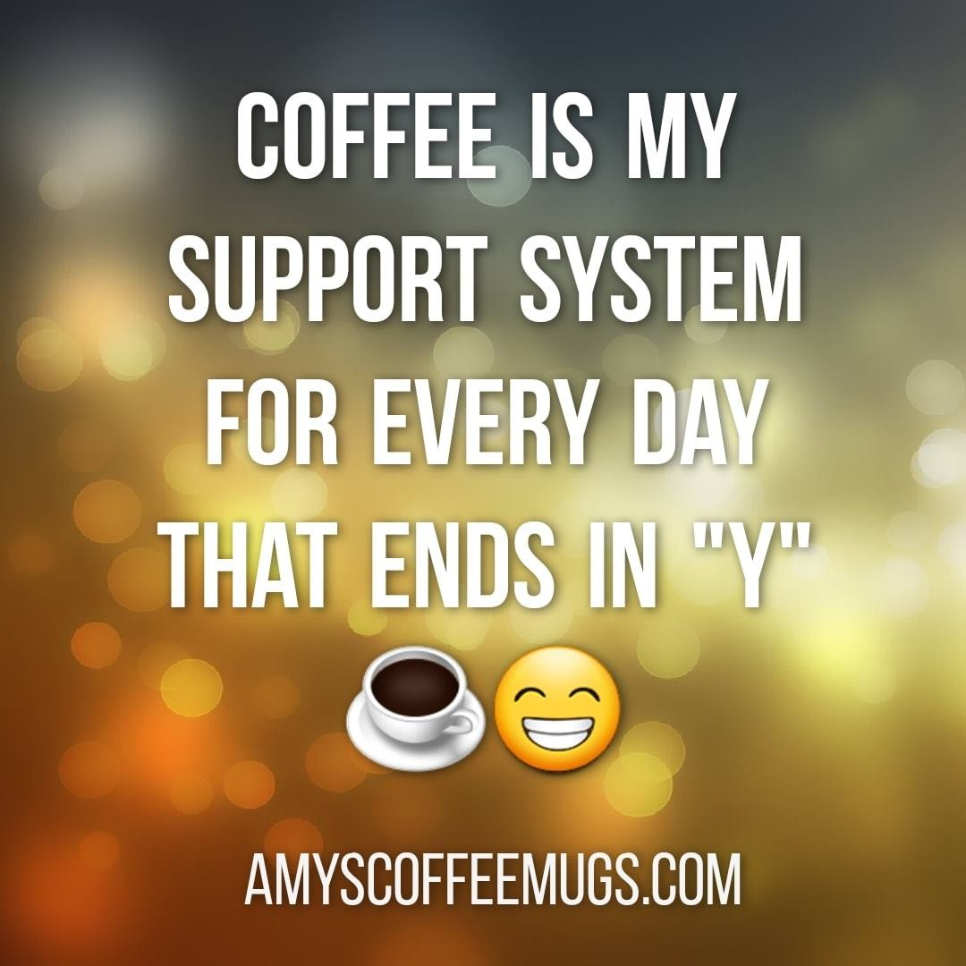 Coffee is my support system for every day that ends in y - Amy's Coffee Mugs
