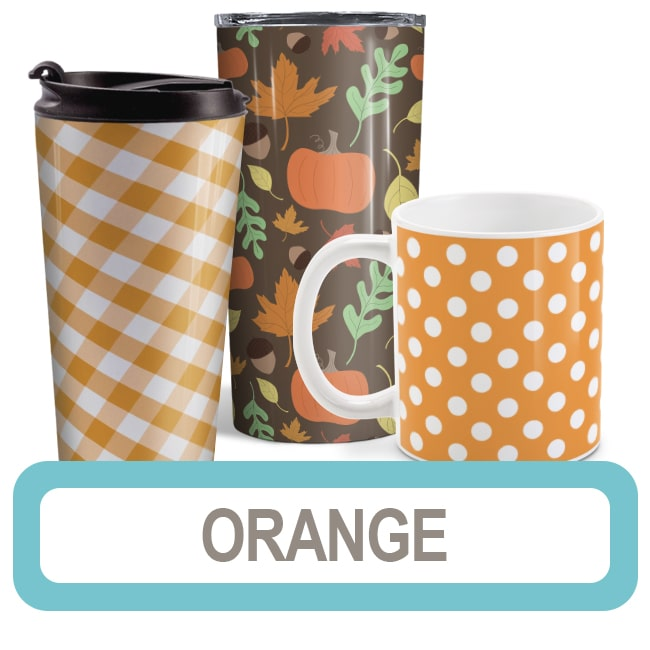 Orange Mugs, Travel Mugs, and Tumbler Cups online at Amy's Coffee Mugs
