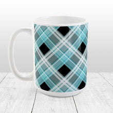 Load image into Gallery viewer, Alternative Turquoise Plaid Mug at Amy's Coffee Mugs
