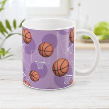 Load image into Gallery viewer, Purple Basketball Mug - Basketball Themed Pattern Purple Basketball Mug at Amy's Coffee Mugs