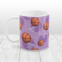 Load image into Gallery viewer, Basketball Themed Pattern Purple Mug at Amy's Coffee Mugs