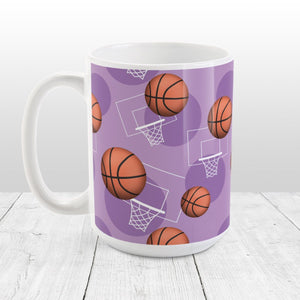 Basketball Themed Pattern Purple Mug at Amy's Coffee Mugs