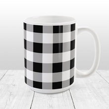 Load image into Gallery viewer, Black and White Buffalo Plaid Mug at Amy's Coffee Mugs