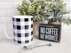 Black and White Buffalo Plaid Mug at Amy's Coffee Mugs