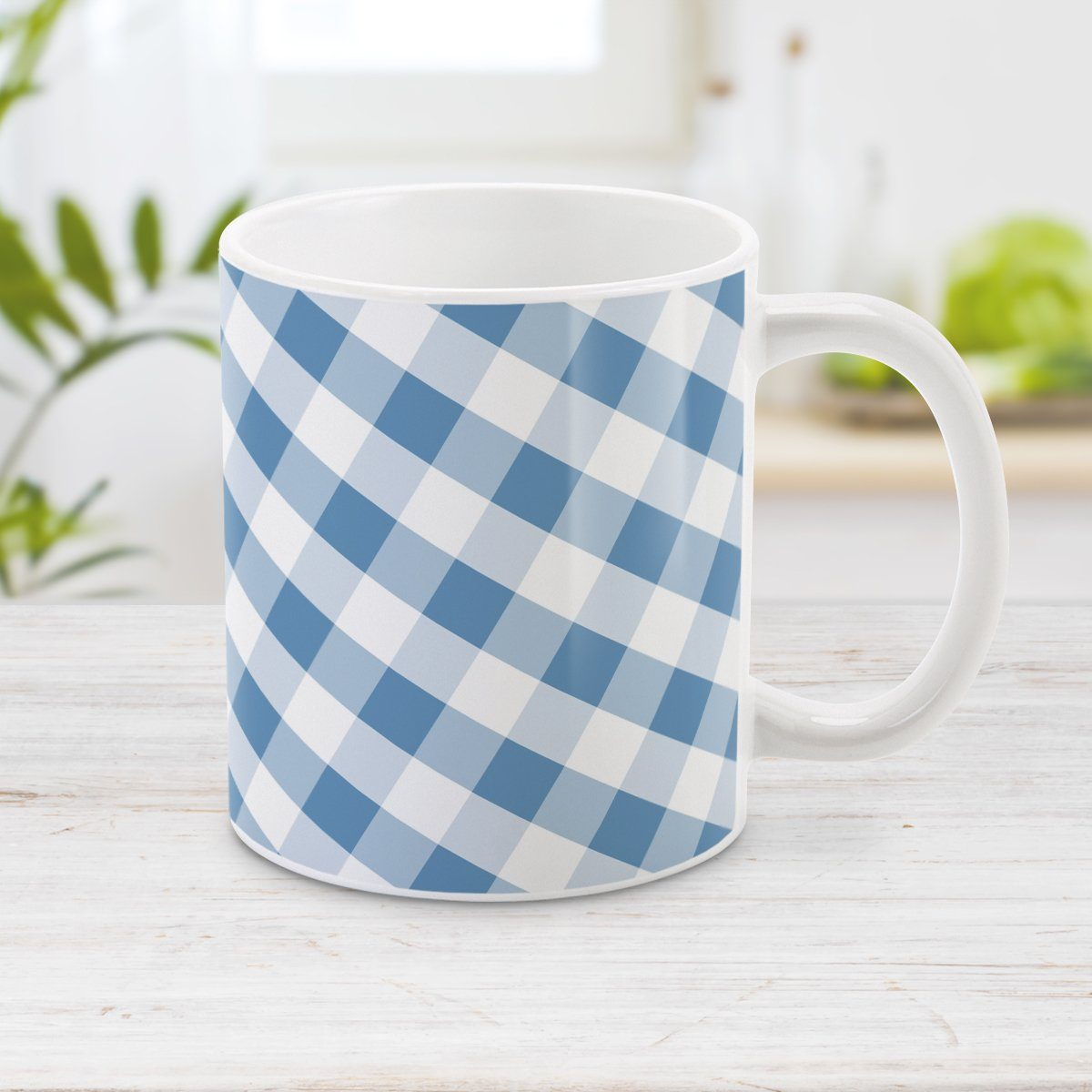 Blue Gingham Mug - Blue Gingham Pattern Mug at Amy's Coffee Mugs