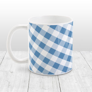 Blue Gingham Pattern Mug at Amy's Coffee Mugs