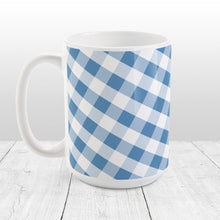 Load image into Gallery viewer, Blue Gingham Pattern Mug at Amy's Coffee Mugs