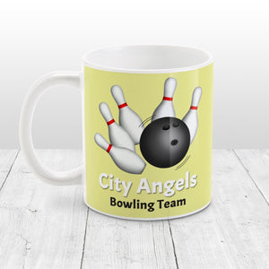 Bowling Ball and Pins Yellow - Personalized Bowling Mug at Amy's Coffee Mugs