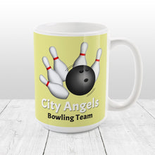 Load image into Gallery viewer, Bowling Ball and Pins Yellow - Personalized Bowling Mug at Amy's Coffee Mugs