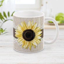 Load image into Gallery viewer, Burlap and Lace Brown Sage Sunflower Mug at Amy's Coffee Mugs