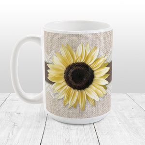 Burlap and Lace Brown Sage Sunflower Mug at Amy's Coffee Mugs