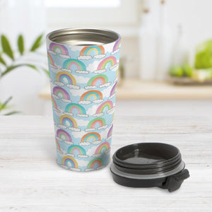 Colorful Rainbows Sky Pattern Travel Mug at Amy's Coffee Mugs