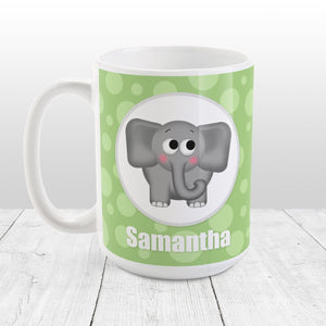 Cute Elephant Bubbly Green - Personalized Elephant Mug at Amy's Coffee Mugs