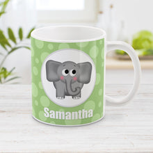 Load image into Gallery viewer, Cute Elephant Bubbly Green - Personalized Elephant Mug at Amy's Coffee Mugs