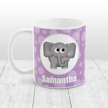 Load image into Gallery viewer, Cute Elephant Bubbly Purple - Personalized Elephant Mug at Amy's Coffee Mugs
