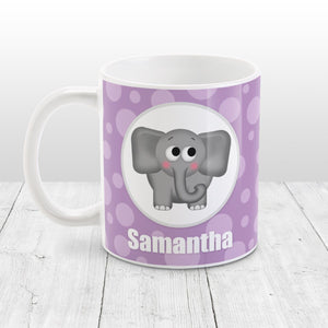 Cute Elephant Bubbly Purple - Personalized Elephant Mug at Amy's Coffee Mugs