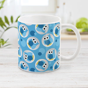 Blue Owl Mug - Funny Cute Blue Owl Pattern Mug at Amy's Coffee Mugs