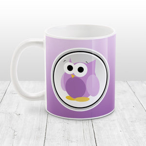 Funny Cute Purple Owl Mug at Amy's Coffee Mugs