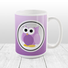 Load image into Gallery viewer, Funny Cute Purple Owl Mug at Amy's Coffee Mugs