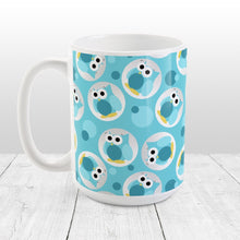 Load image into Gallery viewer, Funny Cute Turquoise Owl Pattern - Turquoise Owl Mug at Amy's Coffee Mugs
