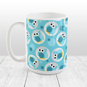 Funny Cute Turquoise Owl Pattern - Turquoise Owl Mug at Amy's Coffee Mugs