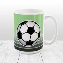 Load image into Gallery viewer, Gray Gradient Lined Green Soccer Ball Mug at Amy's Coffee Mugs