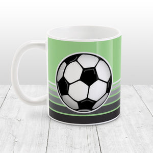 Gray Gradient Lined Green Soccer Ball Mug at Amy's Coffee Mugs