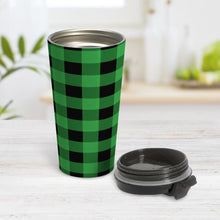 Load image into Gallery viewer, Green and Black Buffalo Plaid Travel Mug at Amy's Coffee Mugs