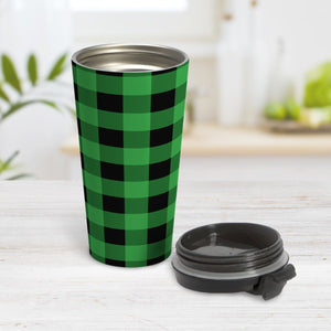 Green and Black Buffalo Plaid Travel Mug at Amy's Coffee Mugs