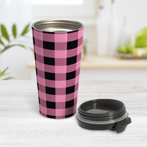 Light Pink and Black Buffalo Plaid Travel Mug at Amy's Coffee Mugs