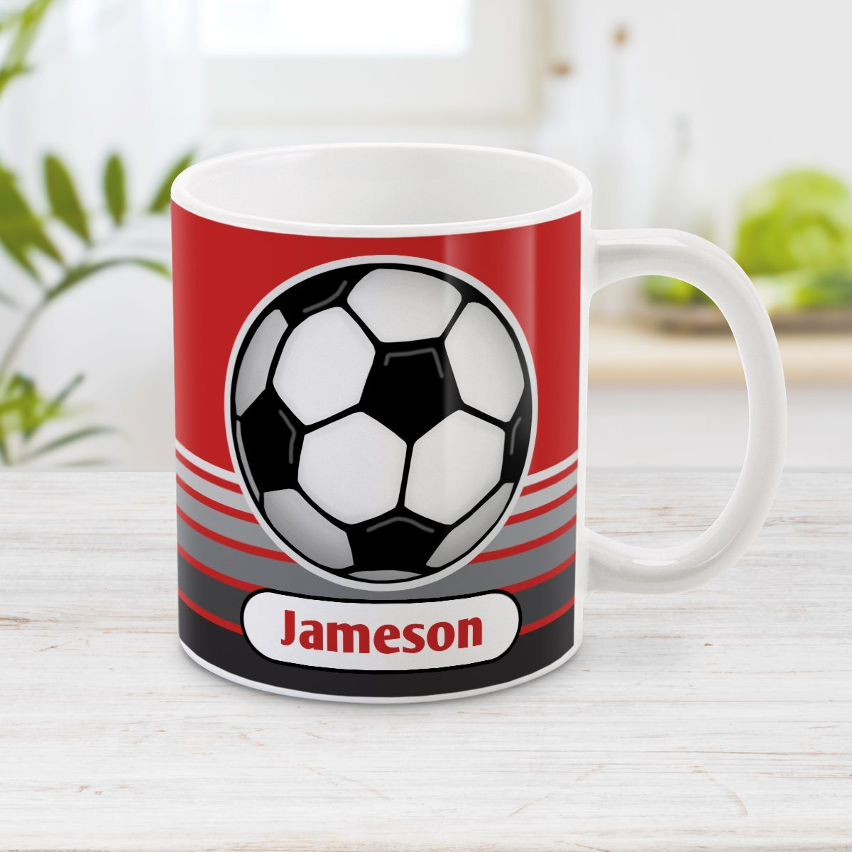Personalized Gray Gradient Lined Red Soccer Ball Mug at Amy's Coffee Mugs