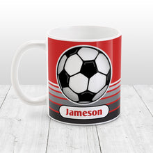 Load image into Gallery viewer, Personalized Gray Gradient Lined Red Soccer Ball Mug at Amy's Coffee Mugs