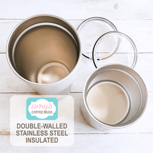 double-walled stainless steel insulated tumbler cups at Amy's Coffee Mugs
