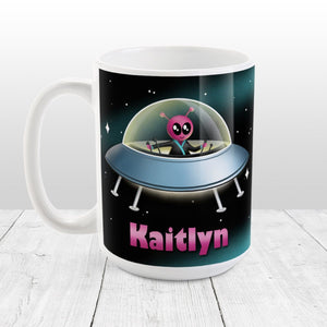 Personalized Pink Alien Spaceship Mug at Amy's Coffee Mugs
