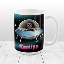 Load image into Gallery viewer, Personalized Pink Alien Spaceship Mug at Amy's Coffee Mugs