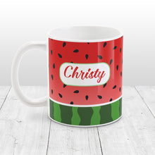 Load image into Gallery viewer, Personalized Red and Green Watermelon Mug at Amy's Coffee Mugs