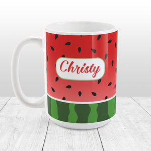 Personalized Red and Green Watermelon Mug at Amy's Coffee Mugs