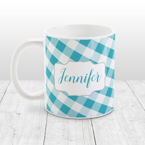Personalized Turquoise Gingham Mug at Amy's Coffee Mugs