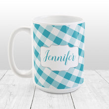 Load image into Gallery viewer, Personalized Turquoise Gingham Mug at Amy's Coffee Mugs
